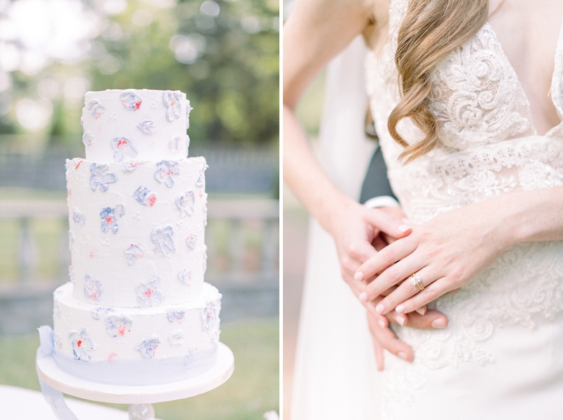 Blue garden wedding ideas with chic painted wedding cake with blue and red florals