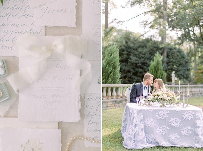 Chic soft blue garden wedding ideas at Norfolk Botanical Garden in Virginia