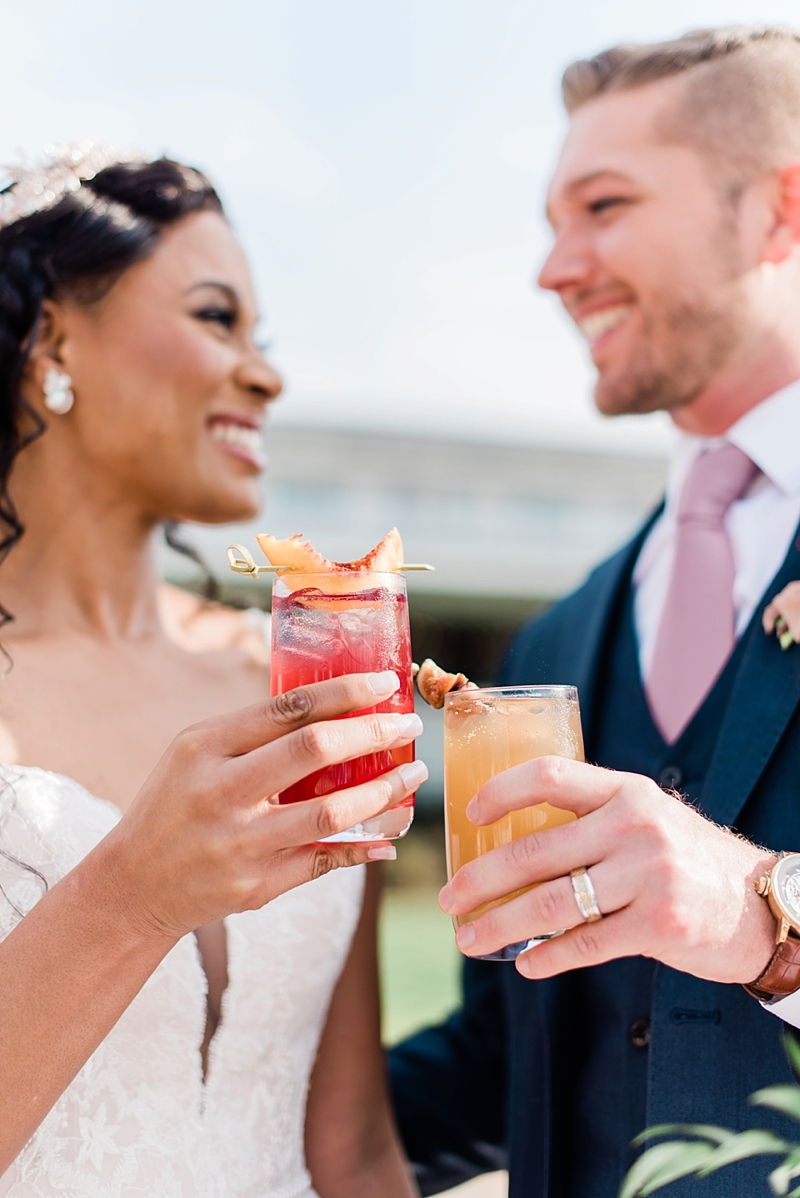 Yummy fig and peach wedding signature cocktails for unique wedding treats at a vineyard venue in Virginia