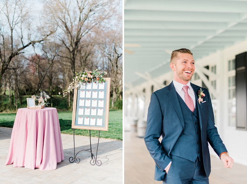 Classic groom in dark navy blue suit with pink necktie and romantic boutonniere