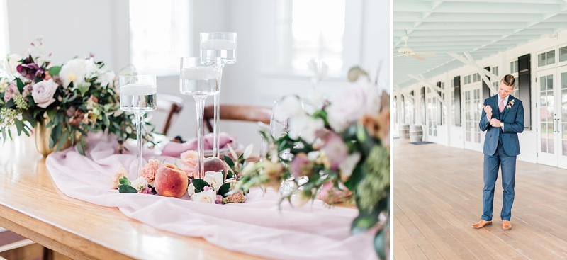 Fig and peach color wedding ideas at Upper Shirley Vineyards in Richmond Virginia