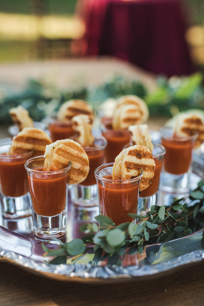 Yummy mini tomato soup shooters with tiny chic grilled cheese sandwiches for cocktail hour hors doeuvres