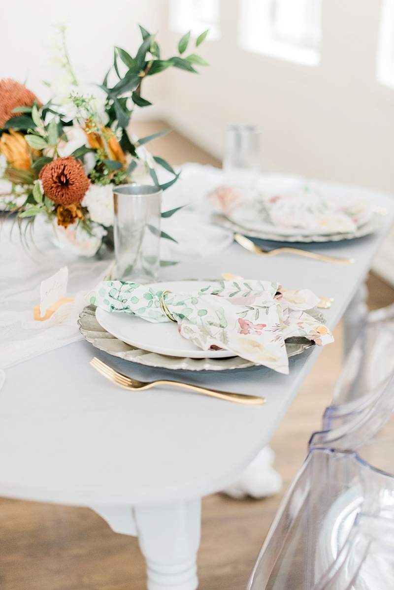 Modern romantic coronavirus affected bridal shower ideas with ghost chairs and small tables