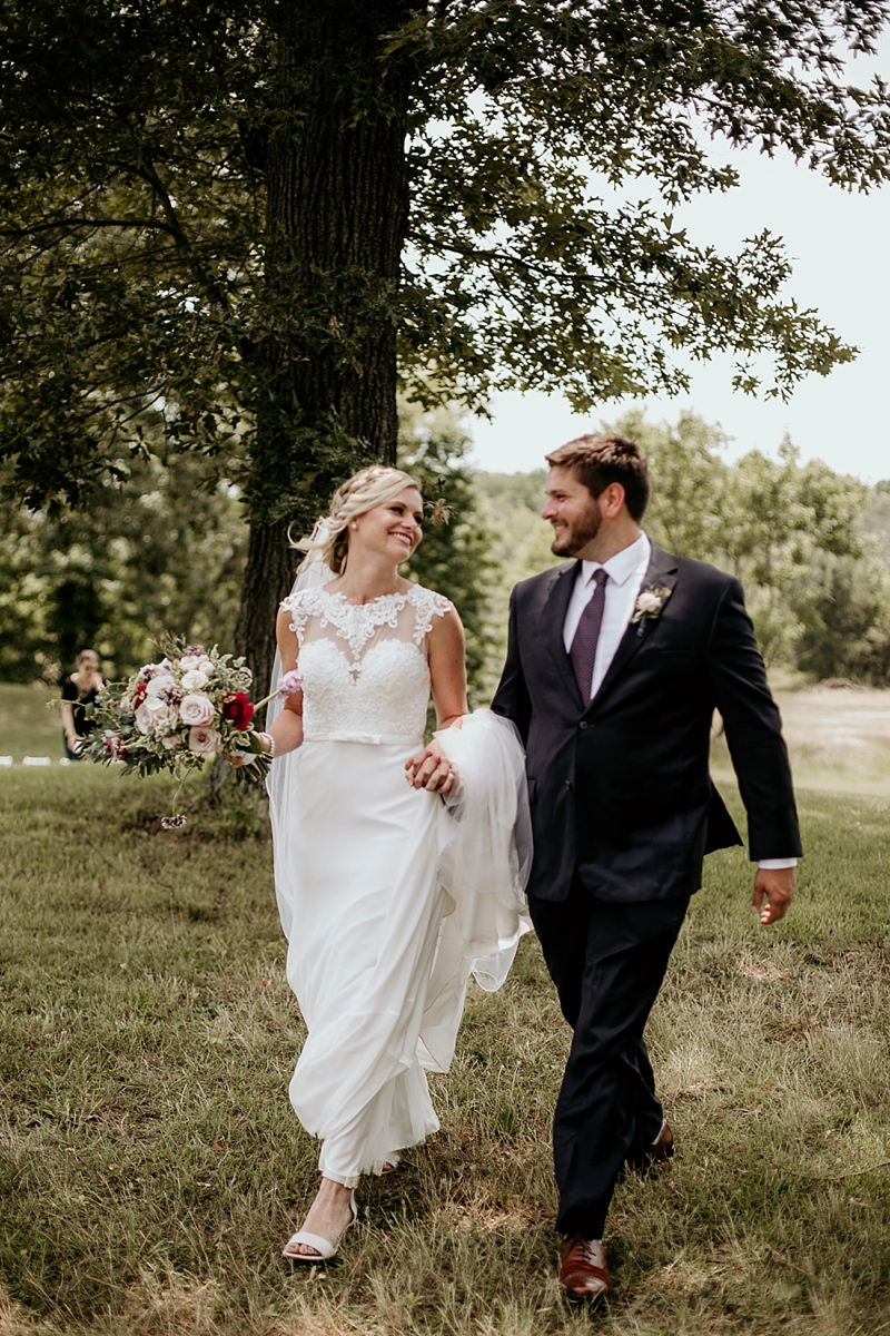 Romantic rustic wedding with lace bridal gown at Adaline Acres in Chester Virginia