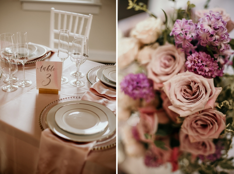Pink and red rustic wedding ideas with pink silk tablecloth