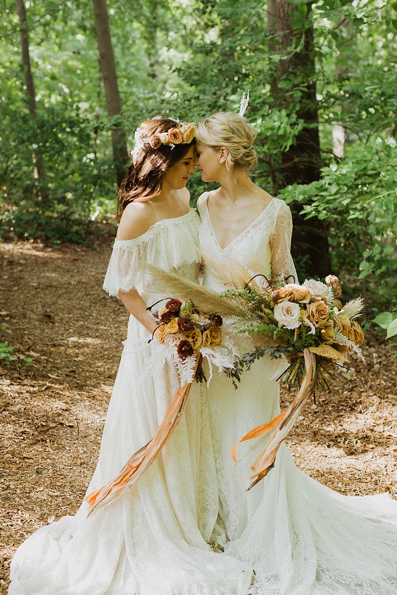 Lace boho wedding dresses and bouquets for a unique forest inspired wedding in Richmond Virginia