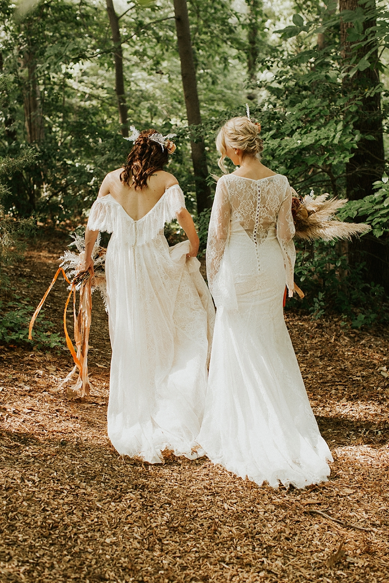 Gorgeous flowy long lace wedding dresses for the perfect boho bridal look in a forest