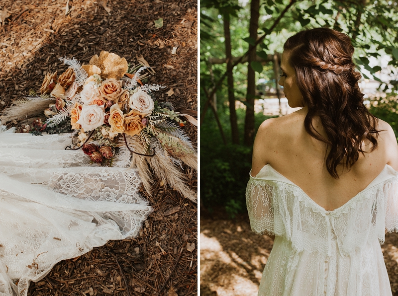 Twisted braid partial bridal updo for sweet boho bride look for forest wedding
