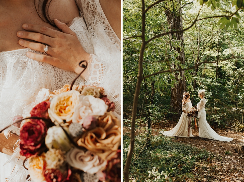 Romantic forest wedding ideas at the Lewis Ginter Botanical Gardens for LGBTQ couples