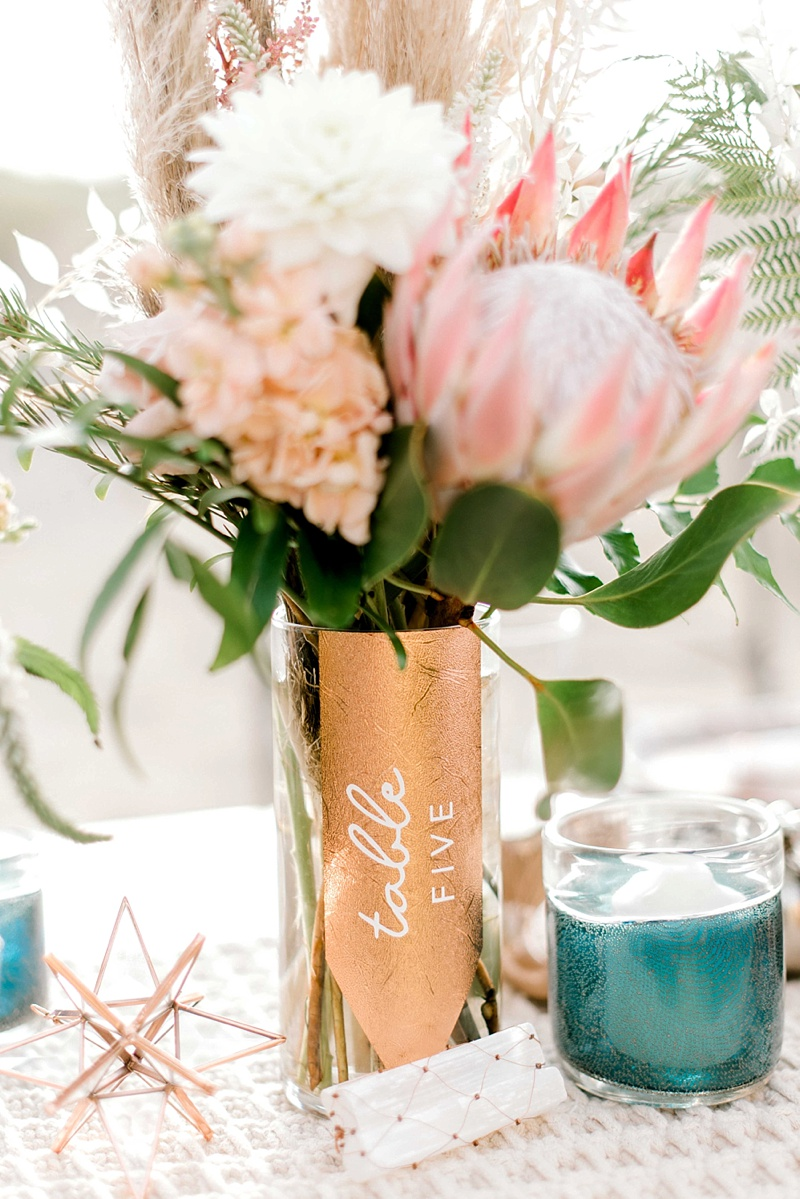 DIY textured copper vase for unique boho wedding table number