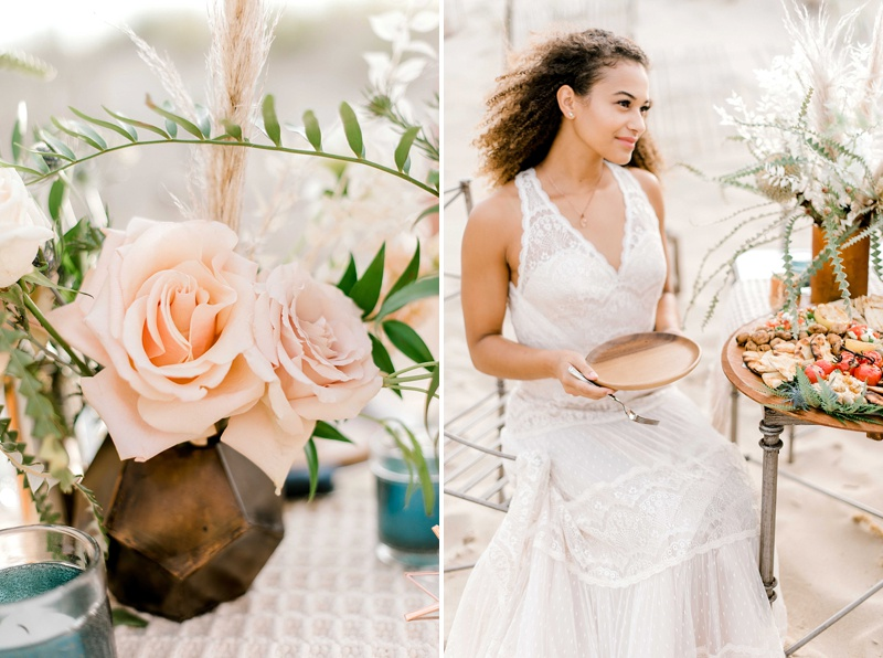 Elegant chic wedding ideas for a boho beach reception in Virginia Beach