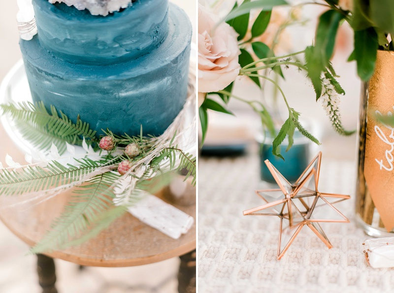 Copper and blue wedding decor ideas for a wildly elegant beach boho wedding in Virginia