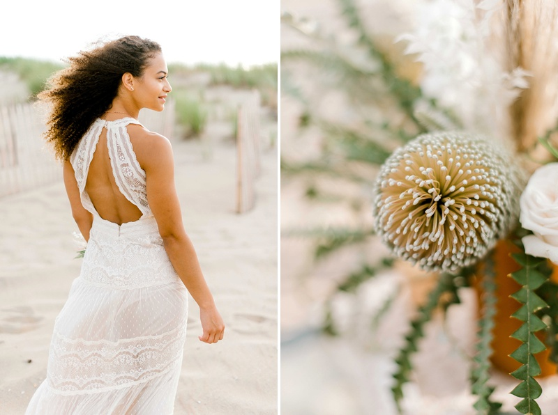 Beautiful ivory colored lace tiered wedding dress from Davids Bridal for an elegant boho bride look