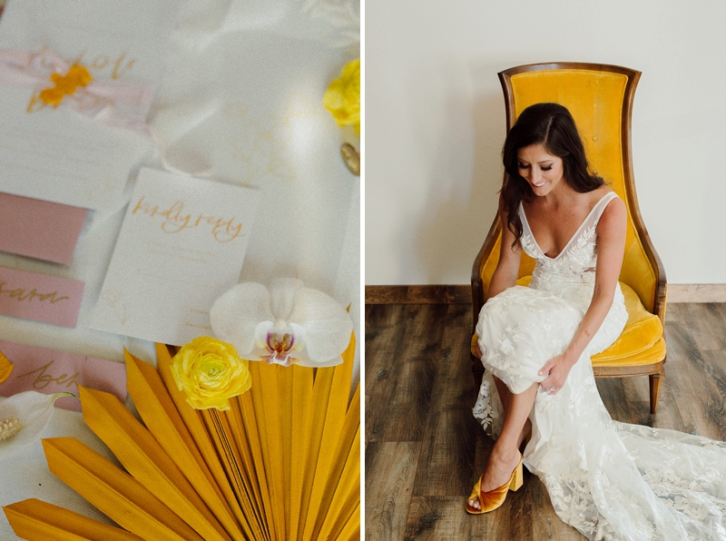 Bride wearing mustard yellow velvet wedding shoes and low v neck bridal gown