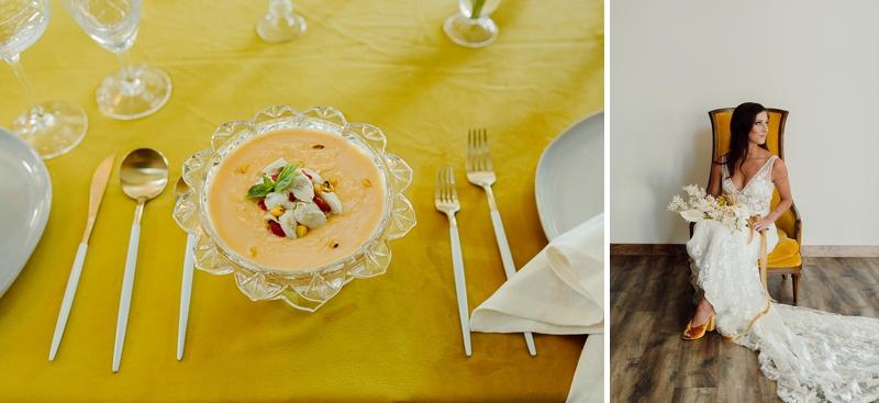 Fun yellow colored wedding appetizer dish for boho tropical wedding in the Outer Banks #weddingfood #weddingmenu #foodanddrink #bohoweddings #tropicalwedding #outerbanks #appetizers #weddings #weddingideas
