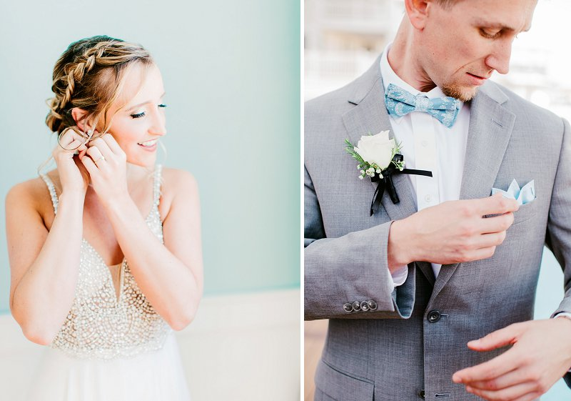 Groom wearing a gray suit with patterned blue bow tie for classic relaxed beach wedding