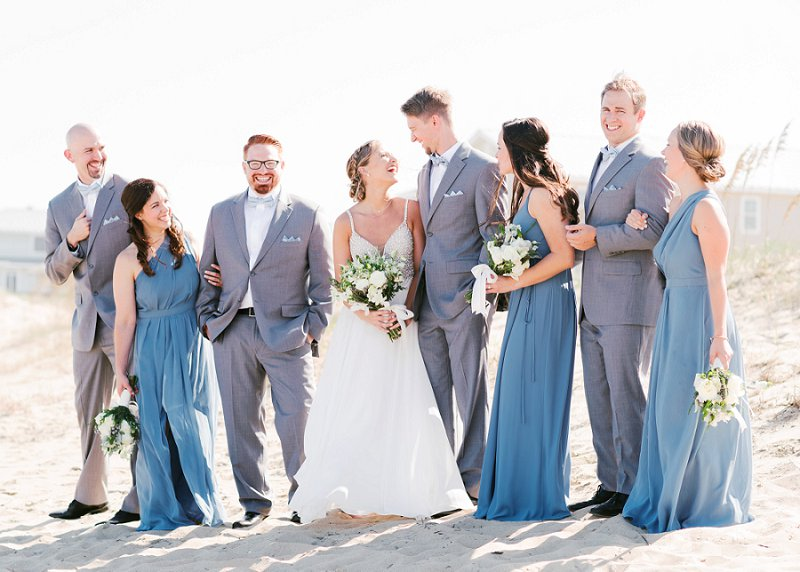 Blue bridesmaid dresses and gray groomsman suits for classic beach wedding in Virginia