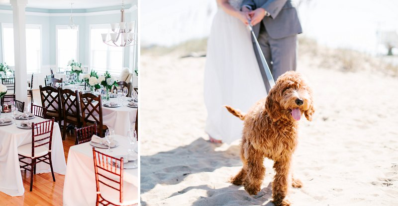 Beautifully classic Virginia Beach house wedding with adorable wedding puppy in a bow tie