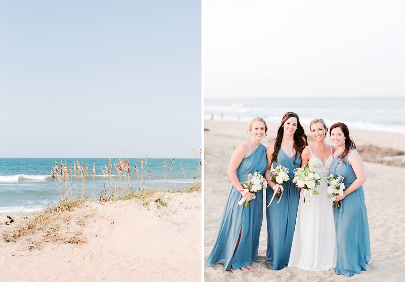Bridesmaids in pretty blue dresses for a coastal Virginia Beach wedding in Hampton Roads