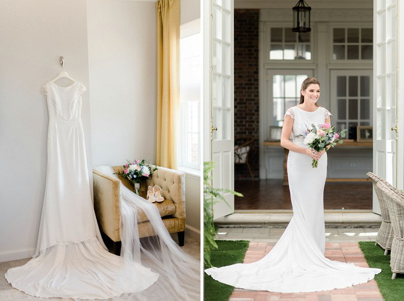 Timeless wedding dress with long train and lace cap sleeves for a classic bridal look