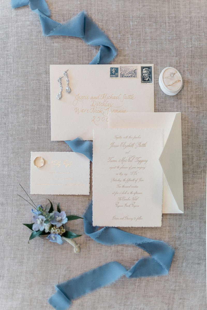 Classic gold calligraphy on cotton deckle edged wedding invitation suite for timelessly elegant wedding in Virginia Beach