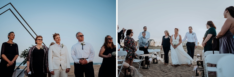 Outdoor beach wedding ceremony at private Virginia Beach beach house for two brides