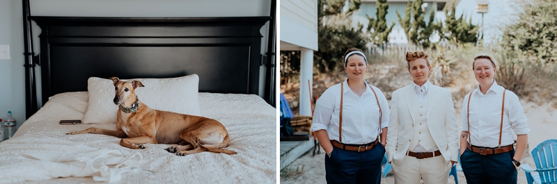 Adorable wedding dog enjoying her moms wedding day in Virginia Beach Virginia