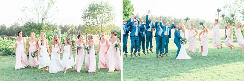 Bridesmaids in light pink dresses and groomsmen in blue suits for classic rustic wedding attire