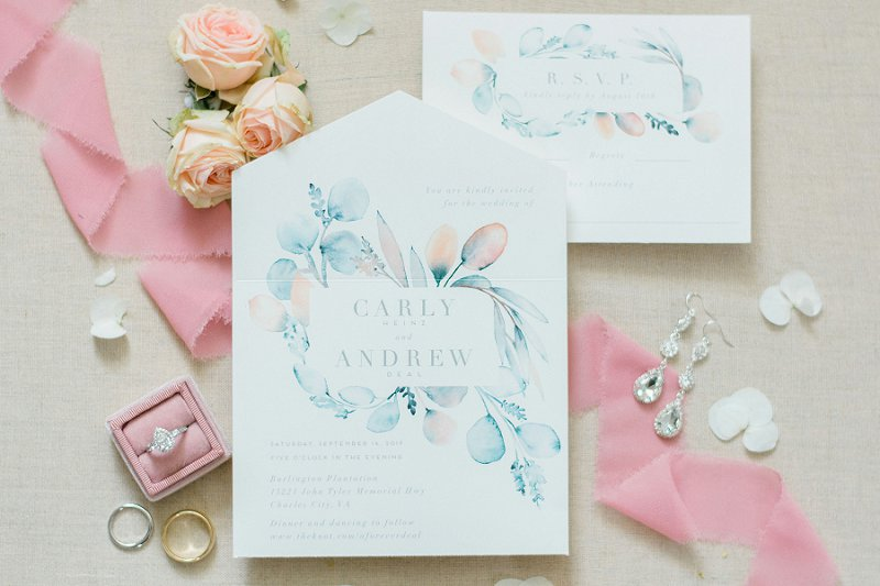 Pink and blue pastel watercolor foldable wedding invitation suite from Minted