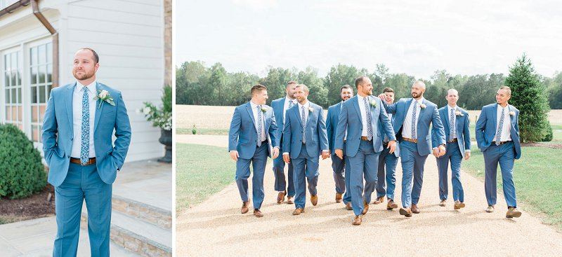 Blue wedding suits and floral neckties for classic rustic groom and his groomsmen in Charles City Virginia