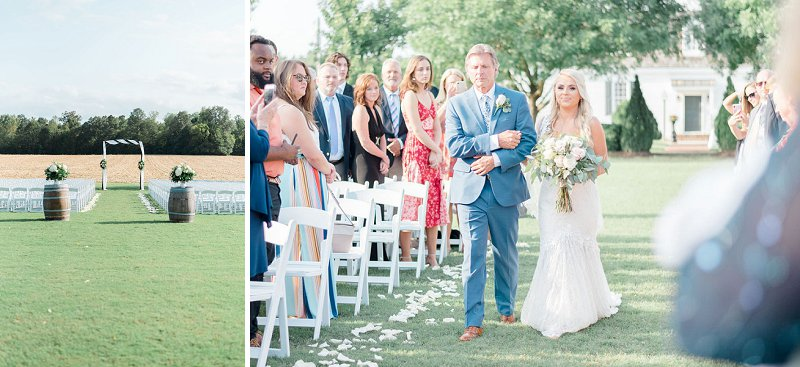 Simple and elegant outdoor wedding ceremony at Burlington Plantation in Charles City Virginia