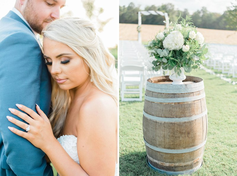 Elegant wedding ceremony altar arrangement on top of a wooden wine barrel for timeless decor