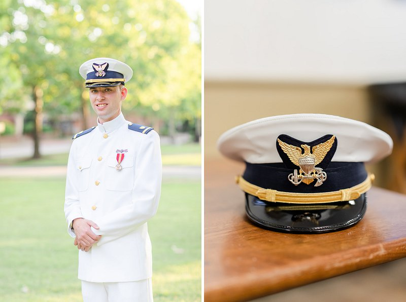 Military groom in his dress whites for a summer Williamsburg Virginia wedding