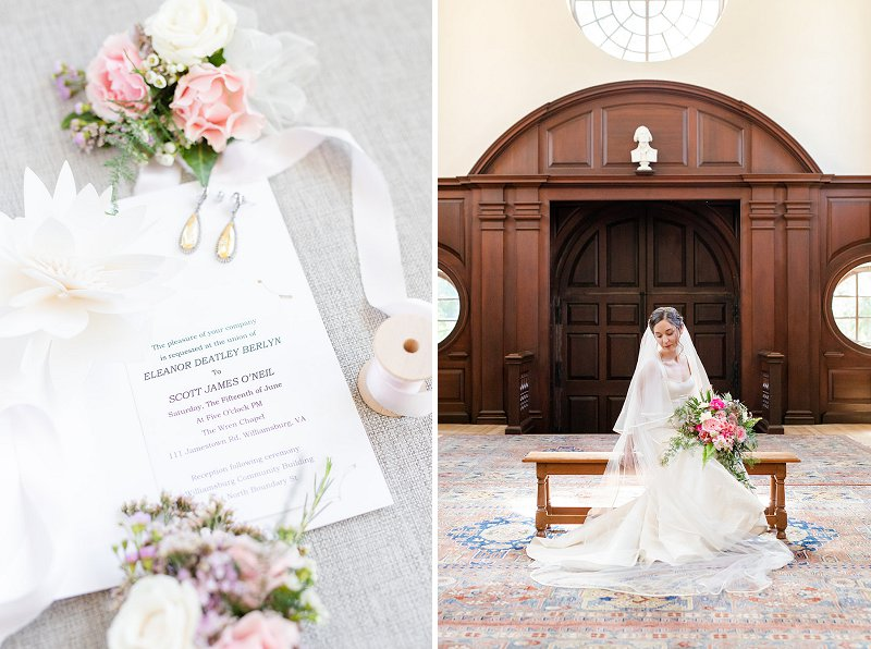 Simple and classic wedding invitation for military wedding at Wren Chapel at William and Mary College in Williamsburg Virginia