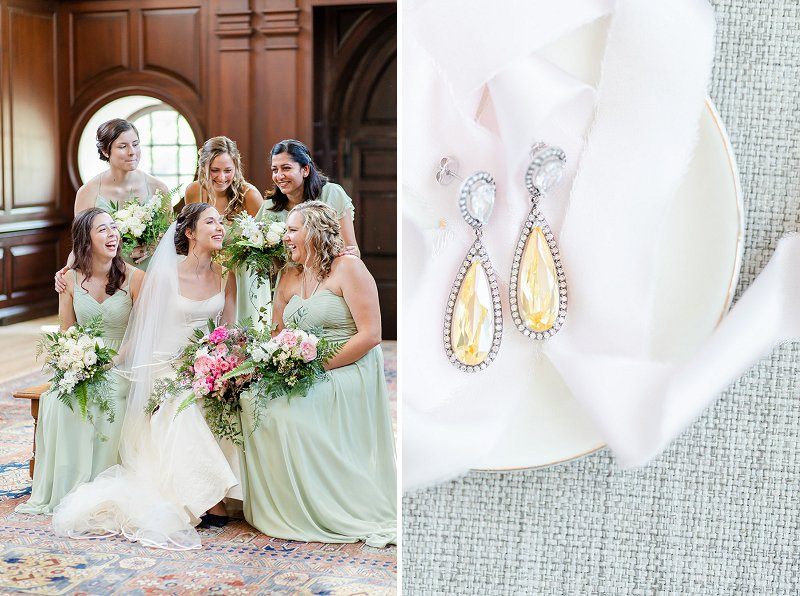 Beautiful bridesmaids in mint green dresses for classic military wedding in Williamsburg Virginia