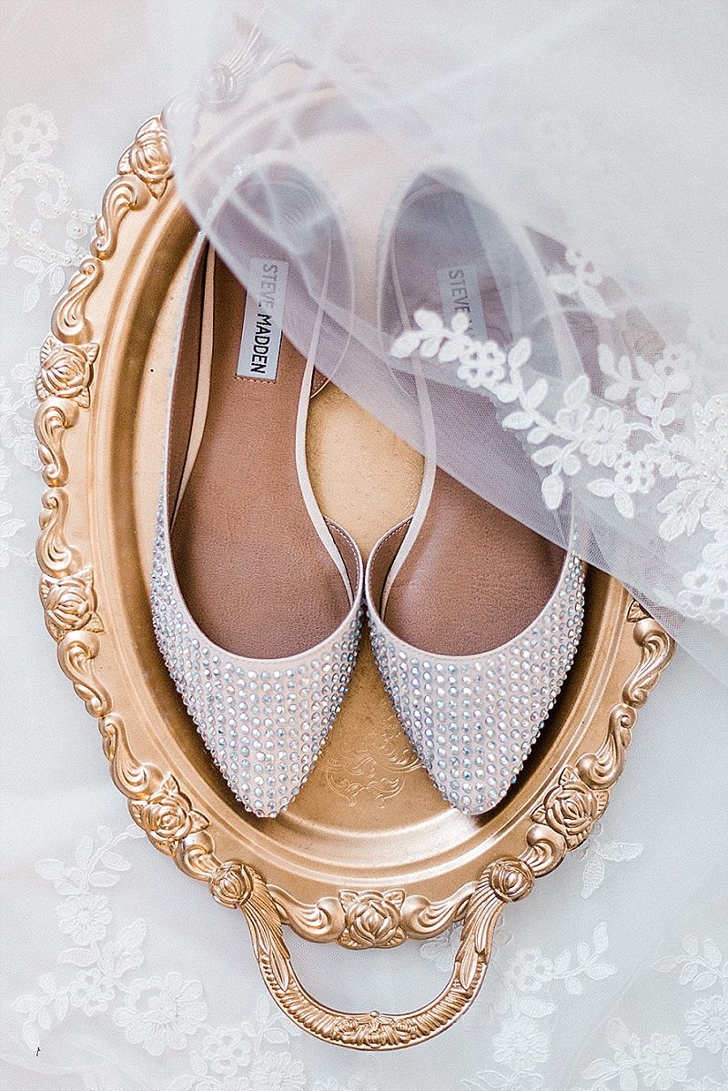 White sparkly bridal flats by Steve Madden