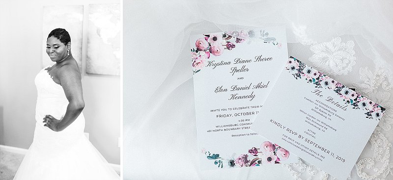 Feminine pink and white wedding invitations for classic fall wedding