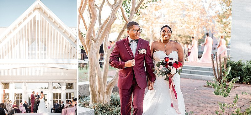 Gorgeous outdoor fall wedding ceremony at the Williamsburg Community Building in Virginia