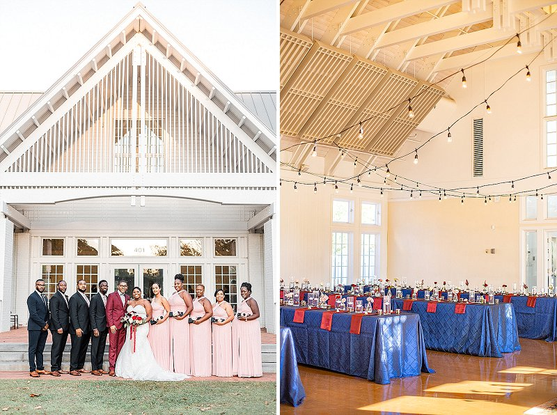 Navy blue and burgundy red wedding colors for pretty fall wedding at Williamsburg Community Building in Virginia