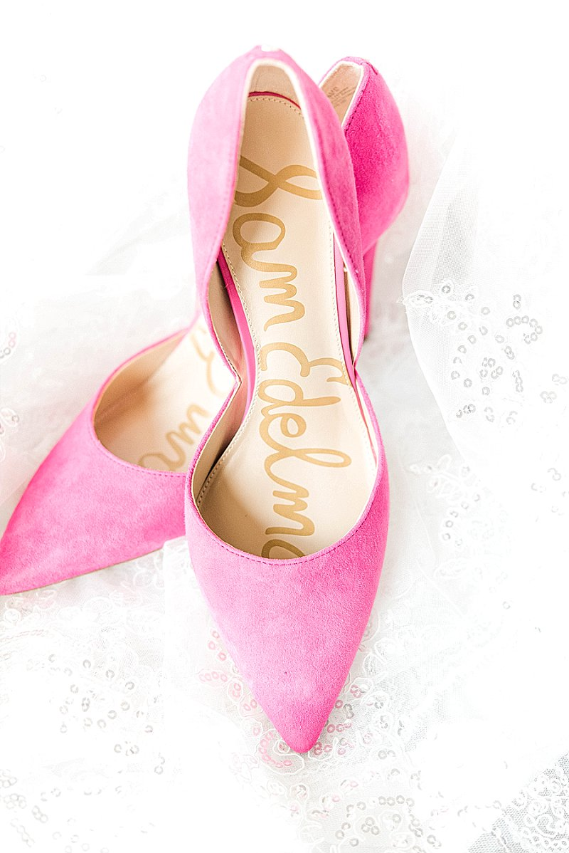 Hot bright pink bridal stiletto heels for fun pop of wedding color