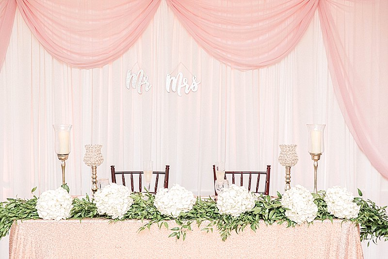 Pink and white wedding reception decor ideas with hydrangeas and candles