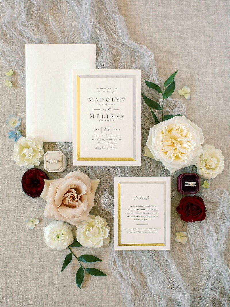 Classic modern wedding invitations with marble and gold design details from Minted