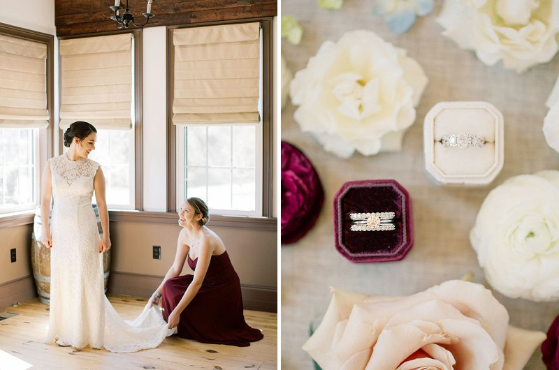 Burgundy red and ivory wedding colors for a perfect rustic winery wedding in Virginia