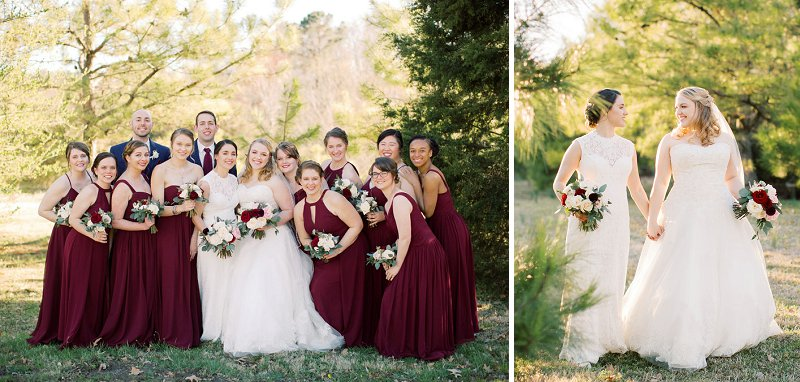 Bridesmaids in burgundy red dresses and bridesmen in navy blue suits for a rustic winery wedding in Virginia