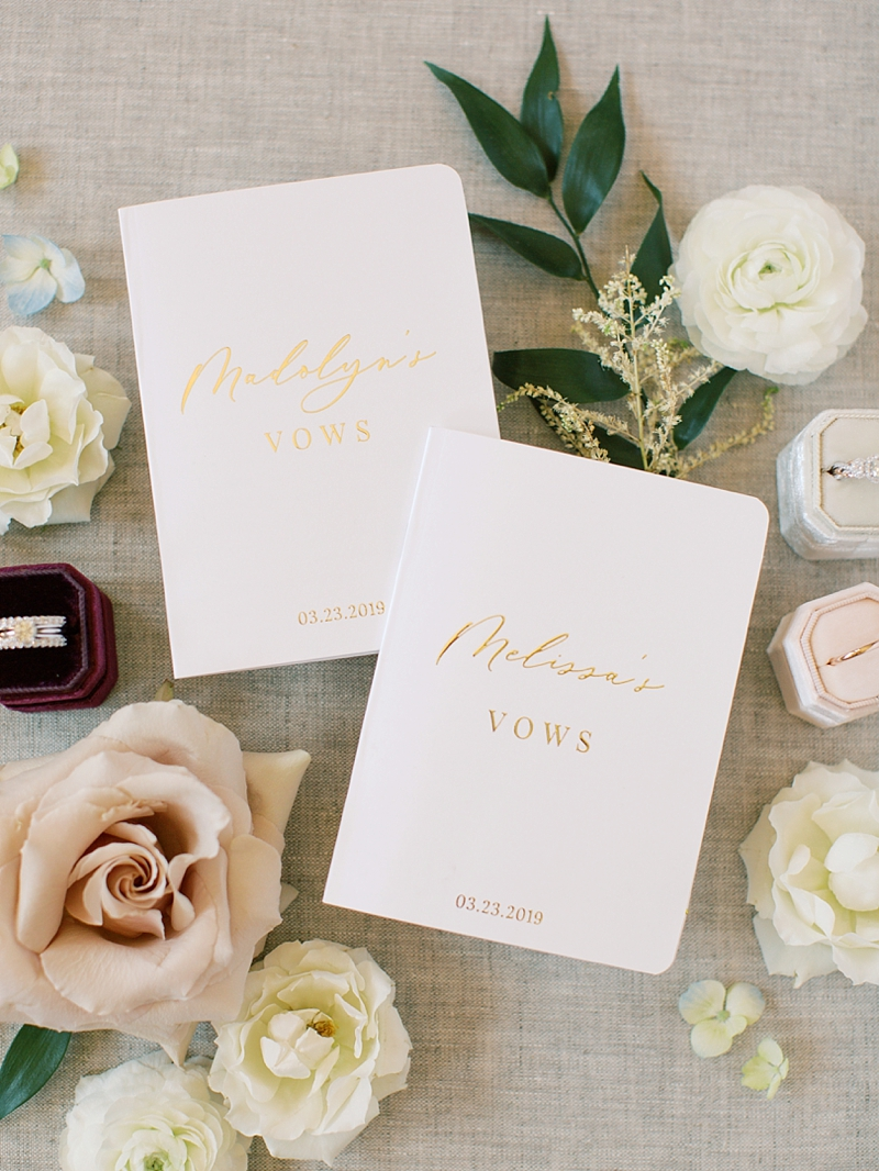 Beautiful personalized gay wedding vow books with gold foil and white paper