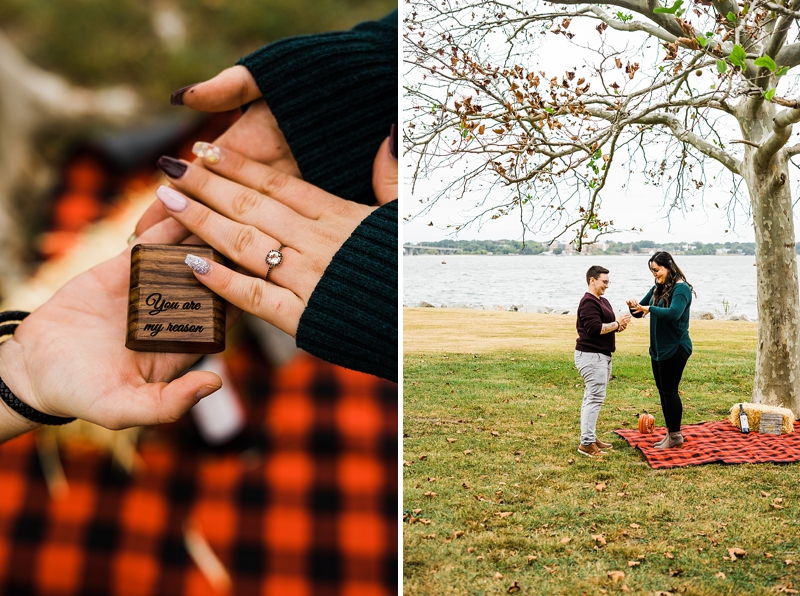 Fall themed LGBTQ wedding proposal session at Yorktown Beach in Virginia